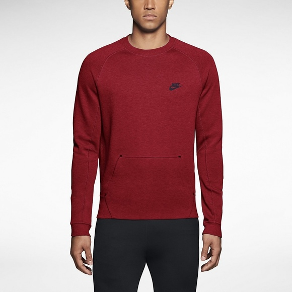 Nike Tech Fleece Crew Sweatshirt Red & Black